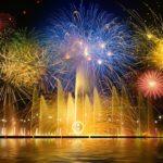 花火と噴水