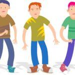 三人の少年のイラスト